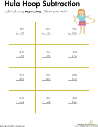 Hula Hoop: Three-Digit Subtraction with Regrouping (Free Worksheet ...