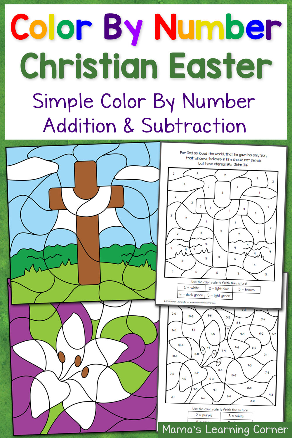 Free christian easter color by number worksheets for Easter coloring pages religious education