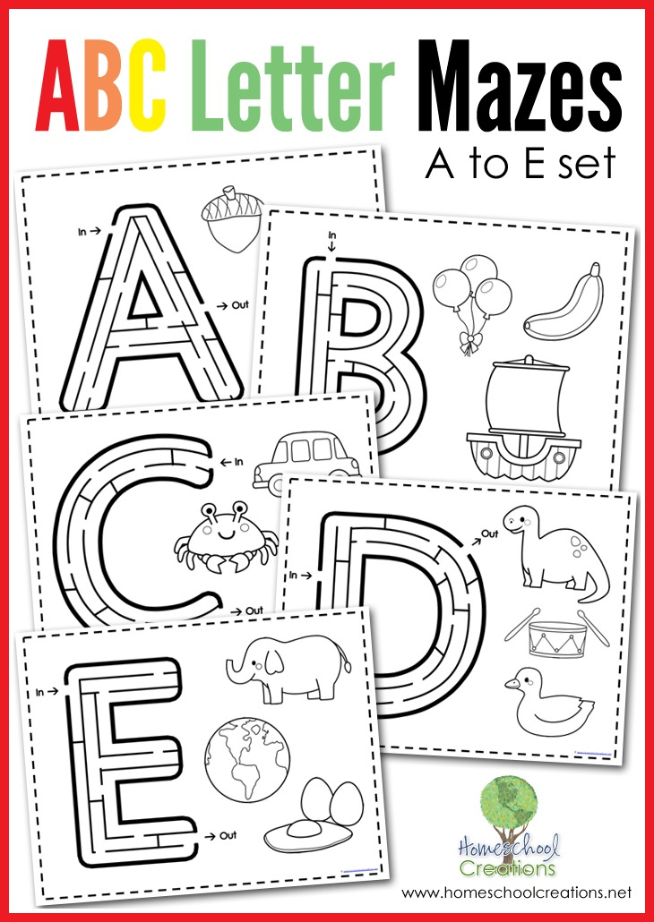 Free Alphabet Mazes - Letters A to E : Homeschooling World