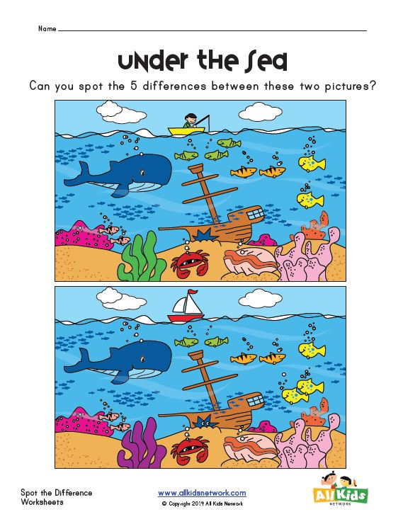 Free Printable Spot The Difference Worksheets : Free spot the difference in ocean worksheet